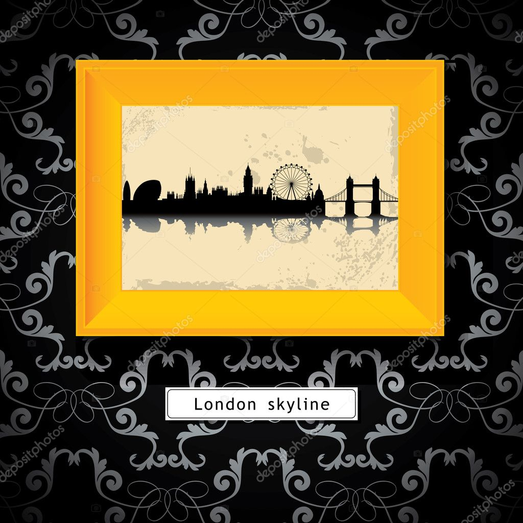 Grunge London skyline in yellow photo frame - vector illustration — Stock Vector #9381553
