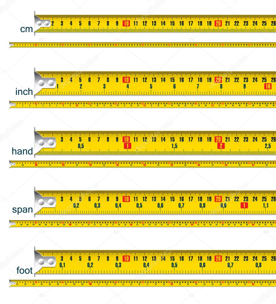 Tape measure in cm, cm and inch, cm and hand, cm and span, cm and foot - vector illustration  Stock Vector #9381589