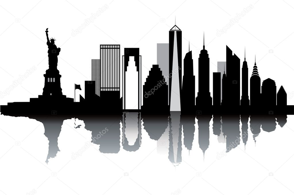 New York skyline - black and white vector illustration — Imagen vectorial #9381590