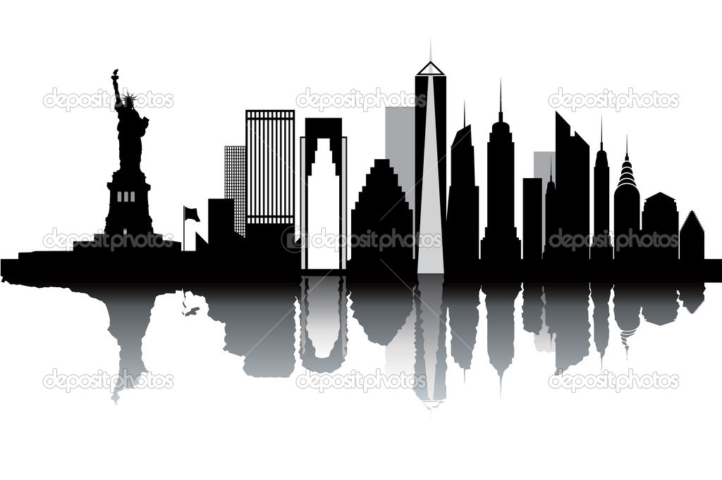 New York skyline - black and white vector illustration — ベクター素材ストック #9381590