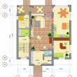 Stock Photo: Multicolored Plan of 1 floor of house