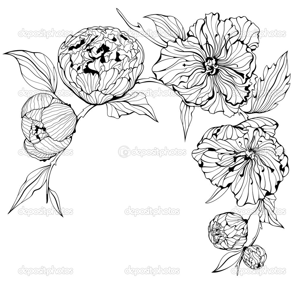 Flower Vector Black And White Vector Black And White