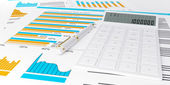 3d illustration of a business, finance credit reports and statis — Photo