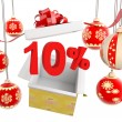 Christmas Gift ten percent discount - Stock Photo