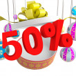 Christmas Gift fifty percent discount — Stock Photo