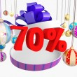 Christmas gift seventy percent discount - Foto de Stock  