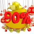 Christmas gift ninety percent discount — Stock Photo