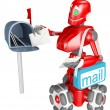 The red robot delivers the mail — Stock Photo