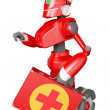 The red robot with a medical bag in hand — Stock Photo #8712785