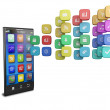 Touchscreen smartphone with cloud of colorful application icons — Stock Photo #8712862