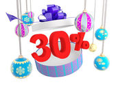 Christmas gift thirty percent discount — Stock Photo