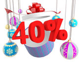 Desconto de quarenta por cento de presente de natal — Foto Stock