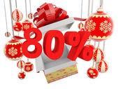 Desconto de oitenta por cento de presente de natal — Foto Stock