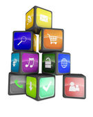 Smartphone industry concept: cubes with color application icons — Stock Photo