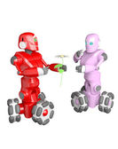 The red robot gives the robot a pink flower — Photo