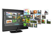 Widescreen TV with streaming video gallery isolated on white ref — Stock Photo