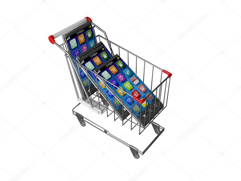 An illustration of a smart mobile phone or tablet PC in shopping cart trolley — Stock Photo #8712809