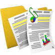 Stock Photo: 3d illustration: yellow folder with documents and schedules