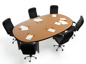 3D images: a large round table with chairs in a circle on a whit — Foto de Stock