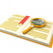 3d illustration: books on the table a magnifying glass — Stock Photo