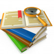3d illustration: a group of books on the table a magnifying glas — Stock Photo