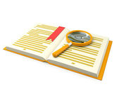 3d illustration: books on the table a magnifying glass — Stockfoto