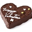 Heart shaped slice of a brownie — Stock Photo