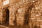 Muro de piedra medieval con una puerta de hierro — Foto de Stock