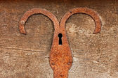 Detail of old chest with rusty iron plate — Stock Photo