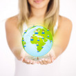 Woman hands holding ECO sign — Stockfoto