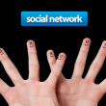 Happy group of finger smileys, social network — Stock Photo