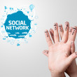 Finger smileys with social network sign — Stock Photo #8516654