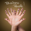 Group of happy business finger smileys — Stock Photo