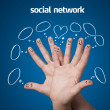 Happy group of finger smileys with social network sign and icons — Stock Photo #8516737