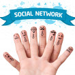 Finger smileys with social network sign — Stock Photo #8516830
