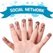 Finger smileys with social network sign — Stock Photo