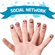 Finger smileys with social network sign — Stock Photo #8516835