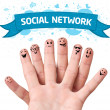 Stock Photo: Finger smileys with social network sign