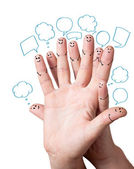 Finger smileys with speech bubbles. — Stock Photo