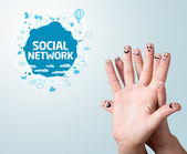 Finger smileys with social network sign — ストック写真