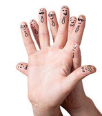Finger smileys with copyspace — Stock Photo
