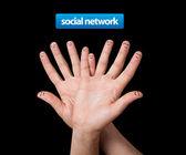 Glückliche Gruppe von Finger-smileys — Stockfoto
