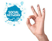 Happy ok fingers with social network sign and icons — Stock Photo