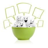 Happy painted eggs in a bowl — Stock Photo