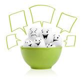 Happy painted eggs in a bowl — Foto de Stock