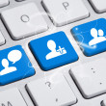 Social media button on keyboard — Stock Photo