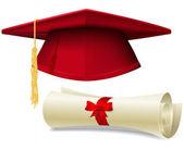 Examen cap och diplom — Stockvektor