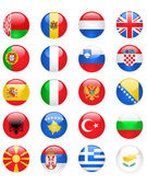 Europe flags buttons, part one — Stock Vector