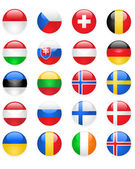 Europe flags buttons, part two — Stock Vector