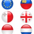 Europe flags buttons, part three — Stock Vector